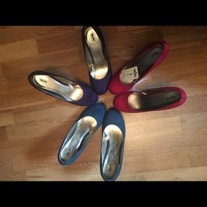 Three pairs of faux suede, mint condition pumps!